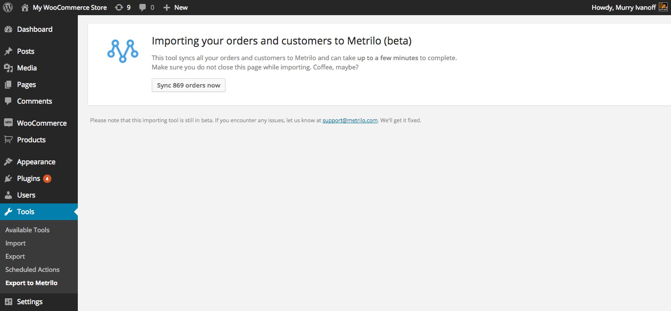 Importing WooCommerce orders and customers to Metrilo