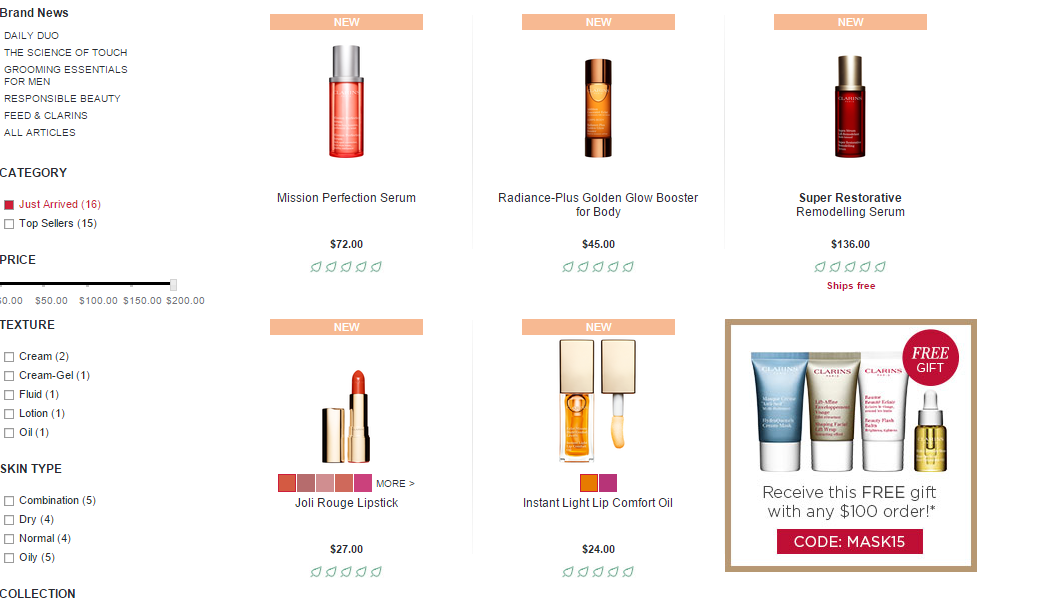 Clarins US Free Gift Examples