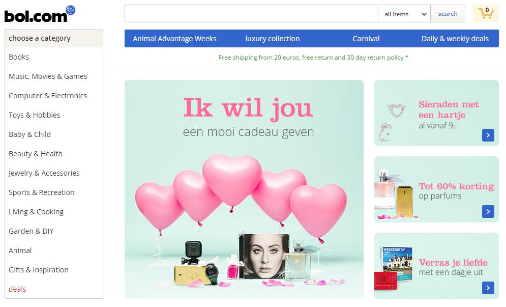 bol.com V-day promo banner