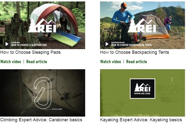 REI Inbound Marketing For Ecommerce Example