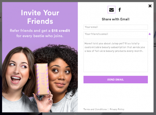 Julep Refer A Friend Example