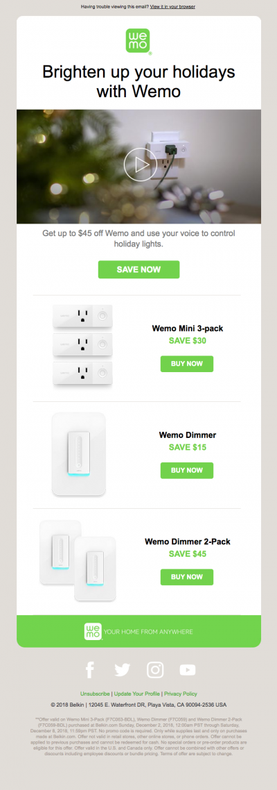 Holiday Savings Up To 45 Off Wemo