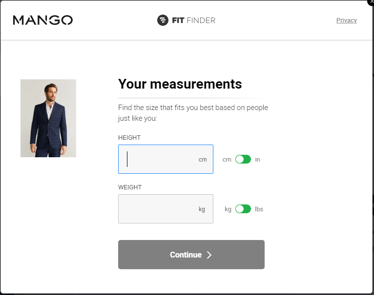 Fit Finder Tool Mango