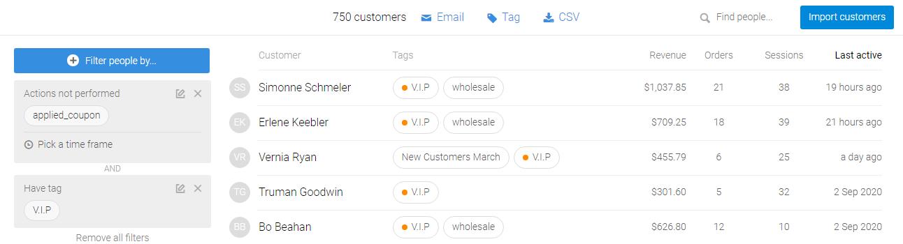 VIP Customers Coupons Metrilo