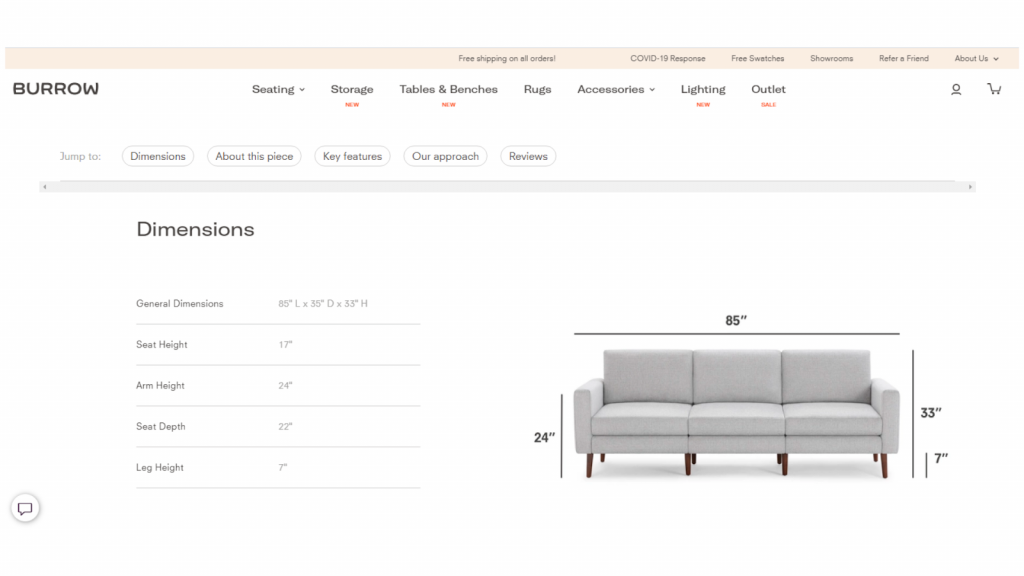 Burrow Product Page