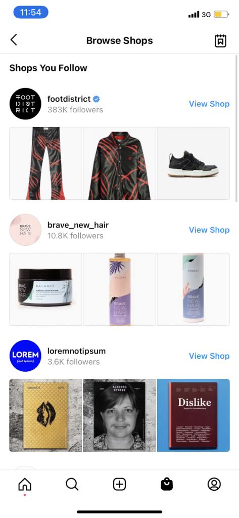 Browse Shops Instagram